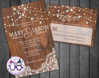 Lace and Lights Wedding Invitation, RSVP Card, Digital Wedding Invitation