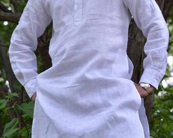 Indian Shirt White Cotton Pathani Kurta tunic white solid Plus size loose fit Big and tall