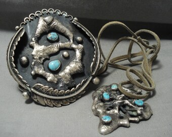One Of The Biggest And Craziest Vintage Navajo Turquoise Bracelet Necklace Set