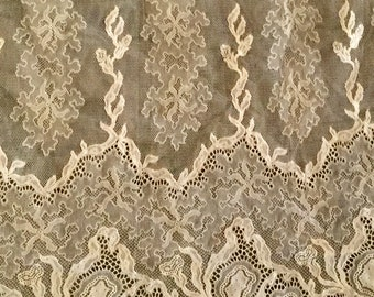 Antique Wide Lace Iris Pattern Curtains, Dress Ruffle