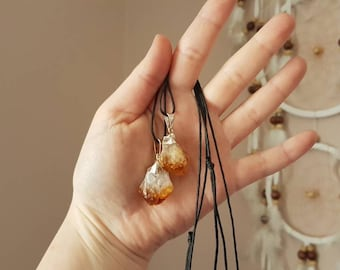 Reiki infused citrine or amethyst point necklace