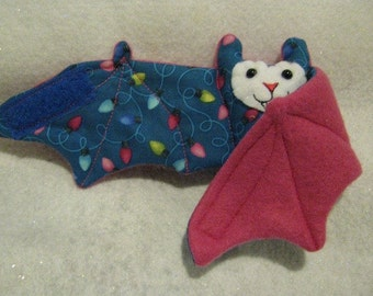 Christmas Light String Bat on Pink Fleece - Stuffed Animal, Coffee Cozy, Cup Sleeve