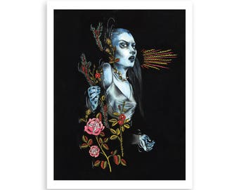 OPHELIA illustration print, tattoo inspired print