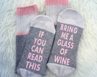 Women's Wine Socks, If You Can Read This Socks, Wine Socks, Funny Christmas Gift Present Wool Wine Socks Bring Me Wine Cute Gift Idea Wine