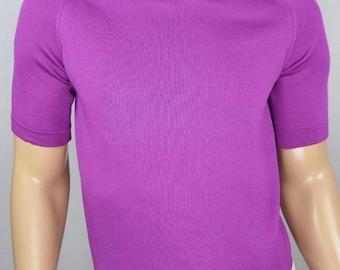 Vintage 1960's Men's Donegal ULtrA MoD Mad MoCk Turtle Neck Violet Purple Knit Shirt Size S M