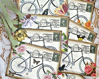 Bicycle postcard tag with flowers and butterflies, Vintage Style Postcard, Bicycle Favor Tag