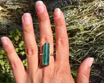 Large All Natural Blue Tourmaline Sterling Silver Handmade Ring