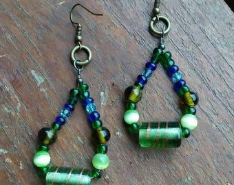 Handcrafted light green  beaded dangle earrings, vintage earrings, vintage jewelry, beaded earrings,  green beaded earrings