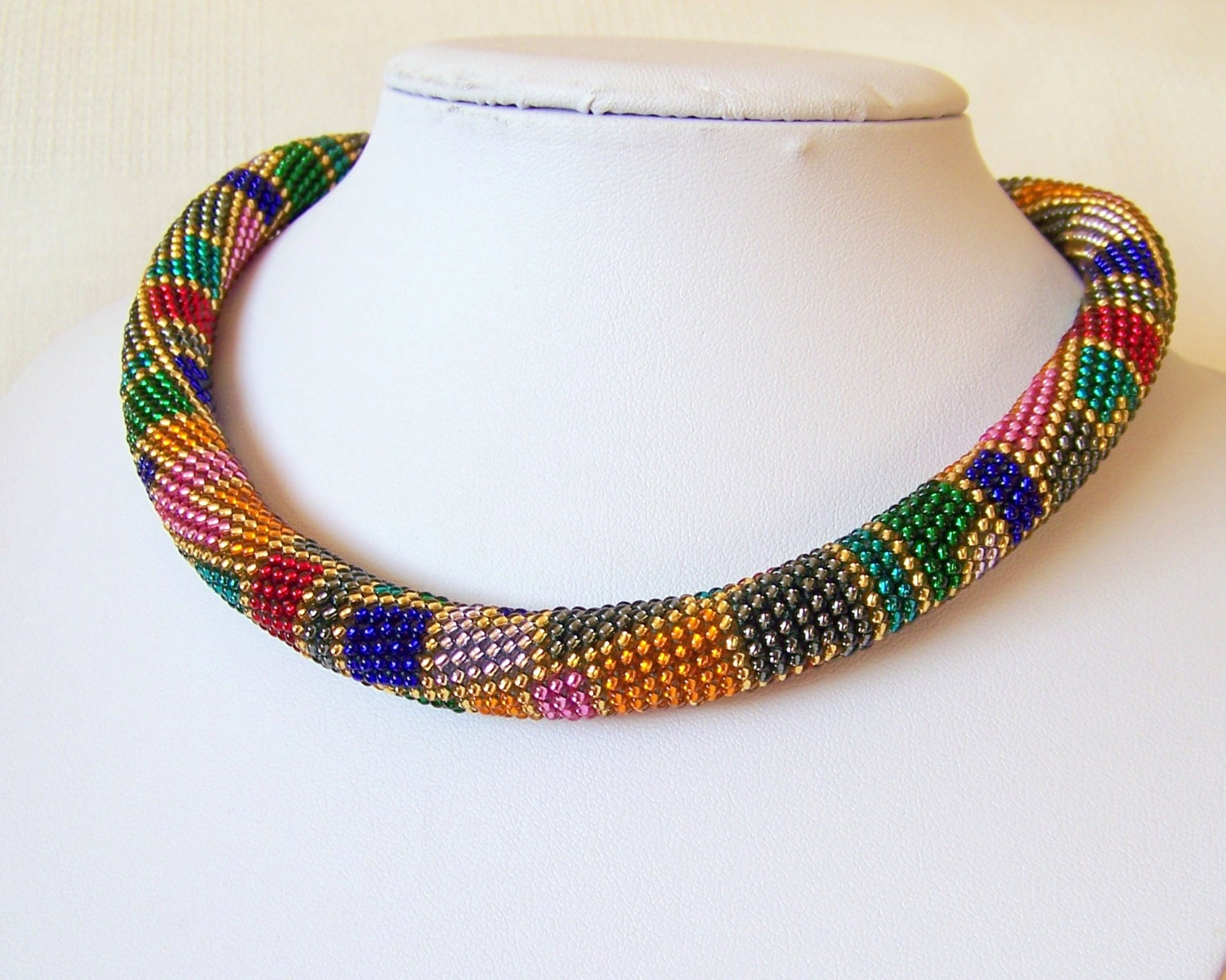 Beaded crochet rope necklace Beaded necklace Handmade