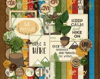 Going Hiking- Digital Scrapbooking Kit - 18 Paper - 37 Elements - Paper Size - 12 x 12 Inches