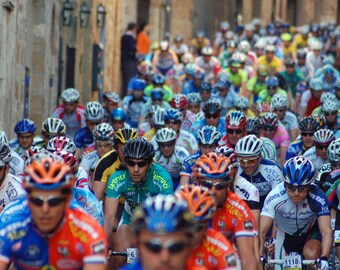 At the start line in San Gimignano, IT