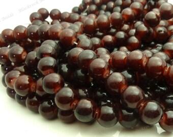 10mm Dark Brown Round Glass Beads - 20pcs - BN17
