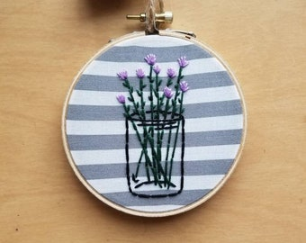 """Flowers in Jar 4"""" Embroidery Hoop Art"""