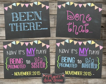 Set of 3 Chalkboard Pregnancy Announcement Photo Props - Been There, Done That, Now It's My Turn! Printable Signs / Baby Reveal / JPEG Files