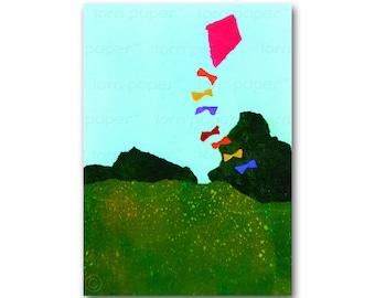 Fly a Kite - Birthday Card or Invitation - Child's Room Decor - Nursery Art - Childhood Memories Card or Print - custom mat (CMEM2013011)