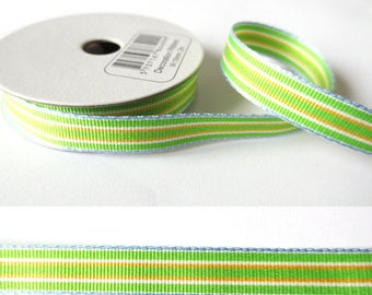 2 m x fancy 10mm green/blue/yellow grosgrain Ribbon