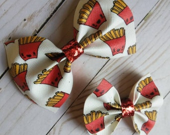 French Fries faux leather bow