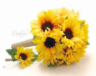 Sunflower Bouquet, Sunflower Boutonniere, Sunflower Bridal Bouquet, Sunflower Bridesmaid Bouquet & Boutonniere with Twine, Sunflower Wedding