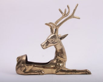 Amazing Large Brass Reindeer Planter Christmas Vintage ~The Pink Room~ 161027