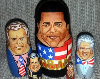 Obama on Five Russian Nesting Dolls. US Presidents.