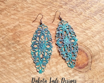 Patina Earrings / Statement Earrings/ Turquoise Earrings/ Boho Earrings/ Long Earrings/ Gift For Her/ Mandala Earrings/ Lightweight Earrings