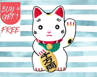 Cat Patch Japanese Patches Iron On Patch Embroidered Patch Maneki Neko Lucky Cat