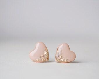 Beige Gold Foil Heart Stud Earrings - BUY 2 GET 1 FREE