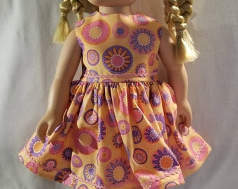 Peach with flowers and circles doll dress made to fit American Girl or other similar 18 inch dolls