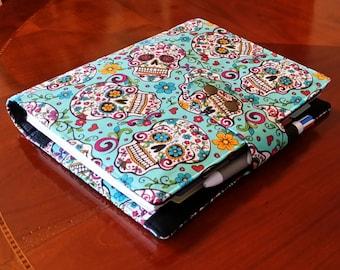 Skulls planner cover Turquoise fabric 17 pocket   Planner accessory Adjustable Closer Erin Condren Plum paper planner cover
