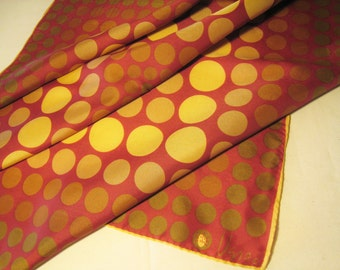 SALE // Vera Mod Polka Dot Scarf in Gold and Burgandy - Designed by Vera Neuman with Ladybug Signature