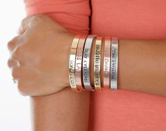 Girl Boss Cuff | Feminist Mantra Bangle | GOAL DIGGER Cuff  |Boss Lady Hand Stamped Cuffs | Engraved Cuffs Expressions Bracelets