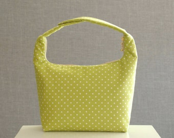 Insulated Lunch Bag, Polka Dot Lunch Bag, Lunch Bag,Girls Lunch Bag,School Lunch Bag, Work Lunch Tote, Snack Tote,Lime Green White Polka Dot