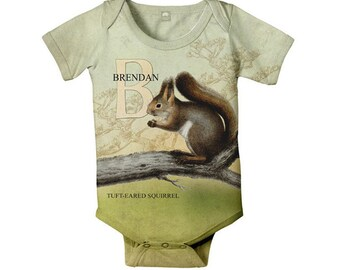 Squirrel Baby Bodysuit, Personalized Woodland Animal Custom Snapsuit, Boy's Clothing, Onepiece