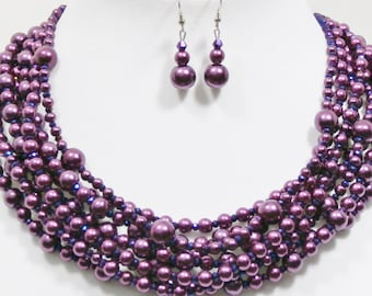 Purple statement necklace, multi strand pearl and crystal