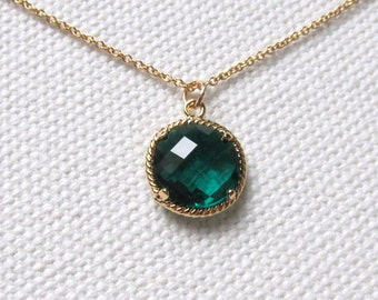 Green stone necklace etsy emerald green necklace dainty gold round necklace green facteted stone 14k gold fill thin gold chain aloadofball Gallery