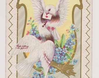 Antique Valentine Postcard, Two Doves, A Message of Love, Ephemera