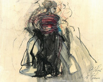 """Originalzeichnung, """"Hommage à Matisse XI"""", Mischtechnik auf Papier, 35x41 cm"""