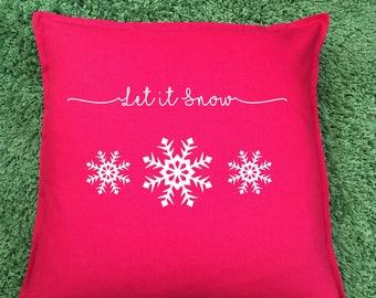 Christmas Decorative Cushion, Let it Snow Cushion, Snowflakes. Christmas Gift