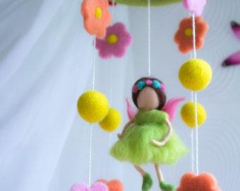 SALE Baby Mobile-Needle Felted flower Fairy Mobile, Nursery Decor, Baby Shower Gift. modern nursery, cot mobile, crib mobile, hanging mobile
