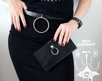 Black genuine leather wallet with harness O ring real leather money purse