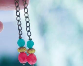 Bohemian Earrings, Chain Earrings, Boho Earrings, Mint, Red, Yellow, Tribal Earrings, Gift For Her, DANGLE EARRINGS, Ethnic Earrings, Chain