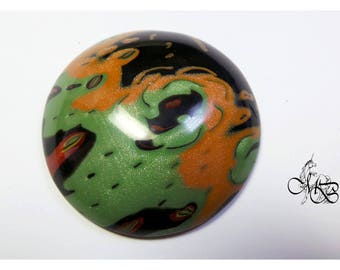 Orange, green and black 45mm polymer clay cabochon
