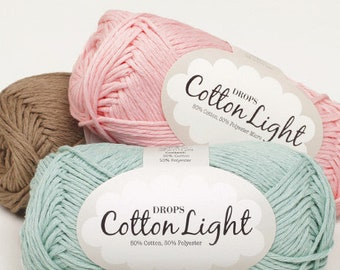 Garnstudio DROPS Cotton Light DK yarn(8ply) 50g, summer yarn, 50%Cotton Yarn, soft cotton yarn