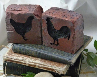 Chicken and Rooster Engraved Clay Brick Bookends