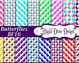 Butterflies Digital Scrapbooking  Paper Set - Instant Download