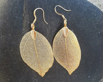 Real Leaf Earrings, Gold Dipped Leaf Earrings