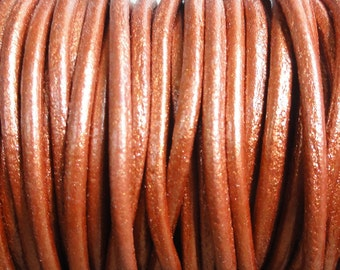 2mm Metallic Copper Leather Cord - 2 Yard Increments