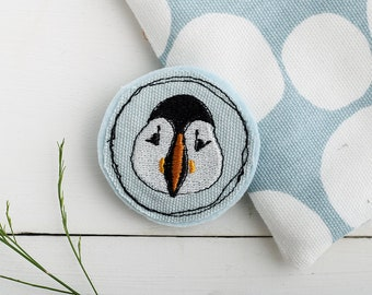 Puffin Brooch // Puffin Jewellery // Puffin Pin // Textile jewellery // Fabric brooch // Textile Brooch // Seaside //Gift for her // Blue
