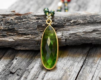 Green Peridot Faceted Pendant - gold Plated rosary chain Necklace - Chain included - Women Charm Necklace