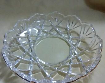 Vintage clear crystal dish. Trimmed in 22k gold.